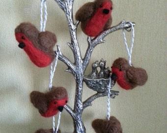 Beautiful Handmade Needle Felted ROBIN Christmas Decoration Tree Hanging
