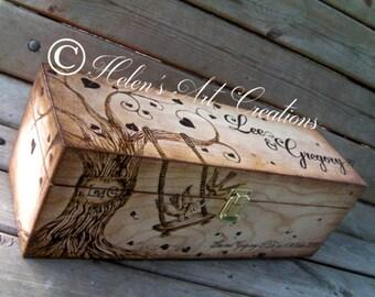 Champagne Wine Box, Wedding Wine Box, Engraved Personalized Wine Box, Custom Large Wine Box, Anniversary, Birthday, Keepsake Box