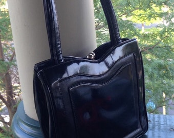 Vintage Francois Handbag, black patent leather bag, Bags By Francois, Mad Men purse