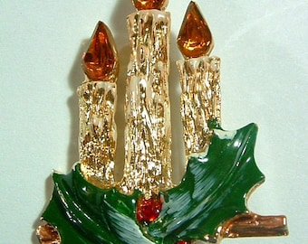 Vintage Christmas Rhinestone CANDLES Enamel Painted Gold Plated Brooch Pin