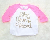 Bless Your Heart God Glitter Pink Raglan Baby Toddler Tee Tshirt