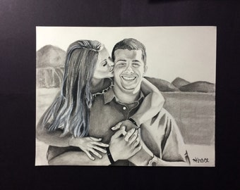 Custom Couple Portrait Drawing in Charcoal Pencil from a favorite photo of your choice CPD11