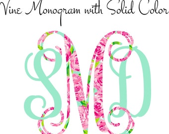 Vine Monogram Decal with Solid Color