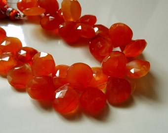 17 pcs -10 to 11 mm Jucie Carnelian Briolette Faceted Hearts 8x1/2 inch strand-Big size