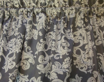 """Gray and White Damask Valance Window Treatment. Elegant and simple. Custom Made 42"""" X 14"""""""