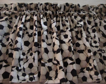 "Soccer Valance Curtain Window Treatment 42"" X 14"""