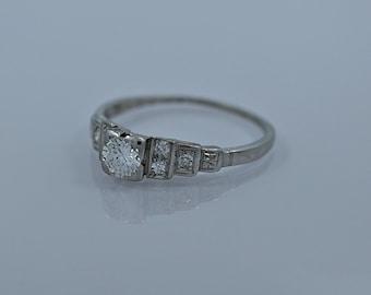 0.33ct. Diamond & Platinum Art Deco Engagement Ring- J34535