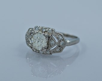 Art Deco 1.00ct. Diamond & Platinum Engagement Ring - J35206