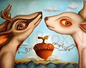 "Giclée print ""Nuts about you"", small size: 14 cm x 28 cm. Susann Brox Nilsen oilpainting deer love lowbrow big eyes fairytale surrealism"