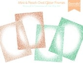 Mint and Peach Oval Glittery Digital Frames Set - Personal & Commercial Use