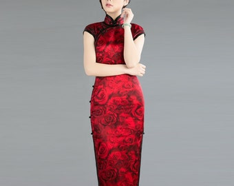 """Long Classic Red Qipao With Subtle Rose Pattern- """"The Color Of Red Wine"""""""