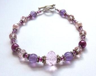 E 112 B - Purple Amethyst and  Multi-faceted Pink Austrian Crystal Bracelet - Pretty  Bracelet- Beaded Bracelet - Birthday Bracelet