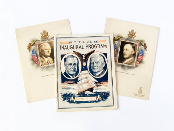 Vintage Ephemera, 1933 Franklin Roosevelt Inaugural Program and Menu Holders.