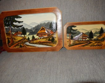 GERMANY SCWARZWALDER HOLZKUNST Hand Crafted Wood Plaque Wall Hangings