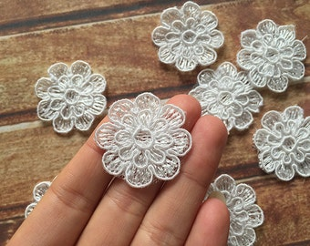 Diamter 3cm Alencon Lace Applique Flower In Ivory 10 pcs-100 pcs per set