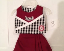 Alabama/NC State/Auburn/LSU/ and other Cheerleader uniform for 18 inch doll