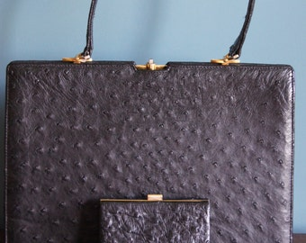 Black ostrich leather vintage bag with purse