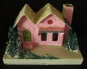 Vintage Christmas Large Cardboard Mica Putz House with Sea Sponge Bushes - Japan