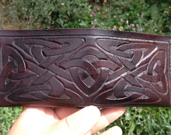 Celtic Knot Leather Mens Wallet Bison Brown