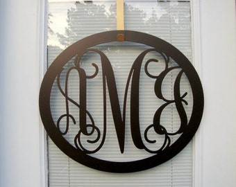 three letter monogram wreathdoor hanger monogram door wreath initial door hanger metal monogram door hanger monogram wall decor