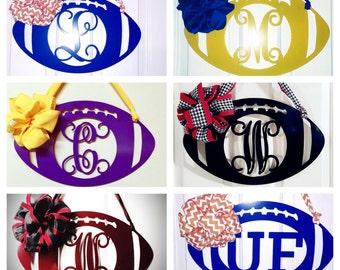 Football Door Wreaths, Monogram Door wreath, Fall door wreath, football, Personalized team colors