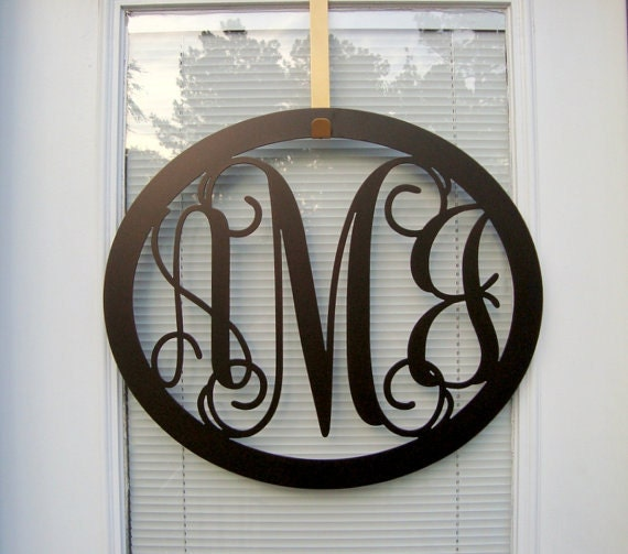 Oval metal monogram wall door hanger by housesensationsart on etsy - Initial letter wall decor ...