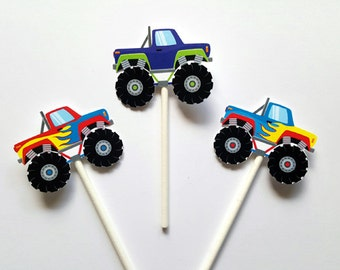 Monster Truck Cupcake Toppers,  Monster Truck Cake Toppers, Monster Truck Birthday, Monster Truck Colorful - Item# 728161215A