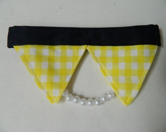 Yellow and White Gingham Pearl Dog Necklace