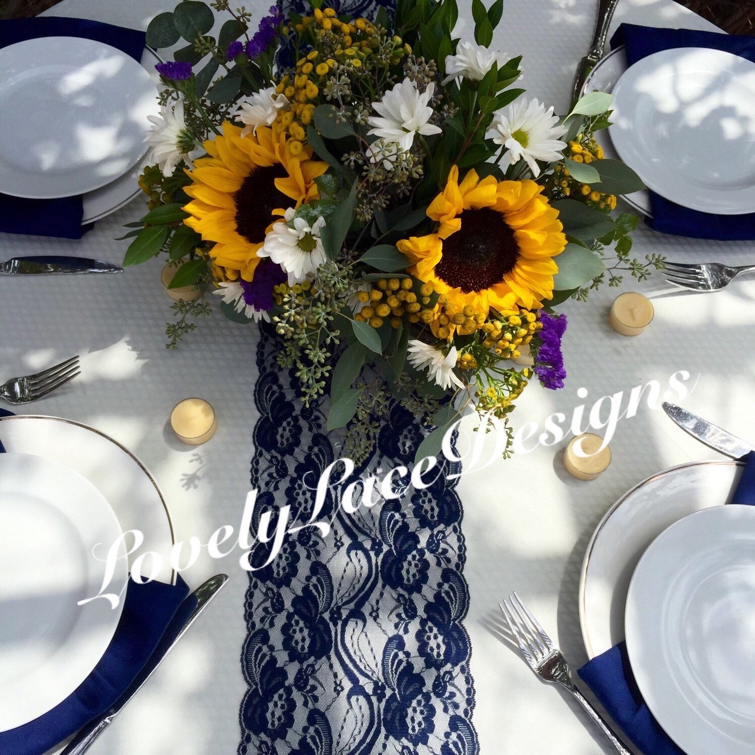 WEDDING DECOR/Navy Lace Table Runner 21ft To 28ft Long X