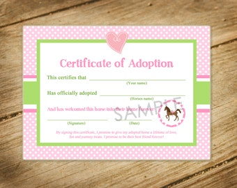 Pony adoption etsy pretty in pink horse themed matching pony adoption certificate yadclub Gallery