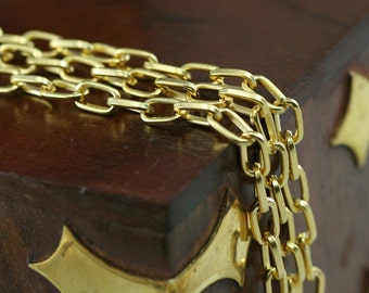 1 mt 3,3 feet 7 x 4 mm gold plated metal link Chain 833
