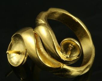 brass ring 1 pc gold plated 27 mm with 8 mm 5 mm base settin US 8 495