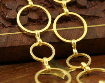 1 mt 3,3 feet 14 mm 10 mm circle shape gold plated Brass link Chain 761
