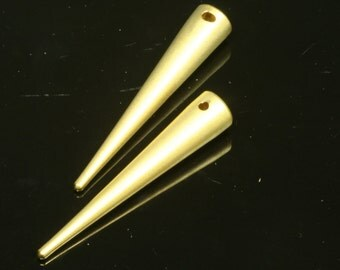 1 pc 7x39 mm gold plated spike pendant brass gold plated brass 739