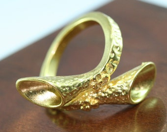 1pc Gold plated Adjustable Brass ring 22 mm with 5 - 5 mm base setting 544