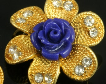 1 pc gold plated brass flower shape pendant 24 mm 1 inch brass findings connector 406