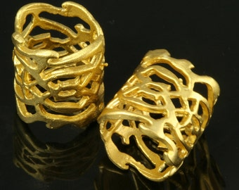 2 pcs 15 x 15 mm gold plated brass spacer bead 11 mm 256