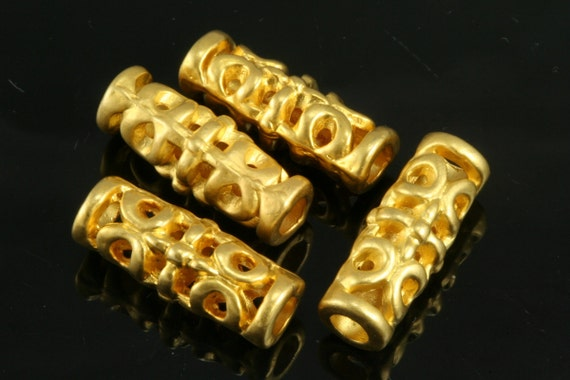 3 pcs  7 x 18,5 mm ( 3,4 mm hole) gold plated alloy tube finding charm pendant 413