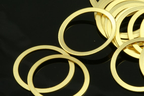5 pcs 34 mm (hole  31 mm ) gold plated brass circle ring findings spacer bead 634