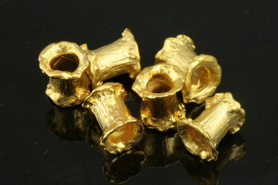 10 pcs  8 mm (hole 3,5 mm) gold plated brass spacer  findings spacer bead bab320