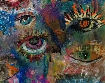Original Mixed Media Art - Eyes