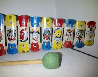 Vintage Tin Xylophone for Children