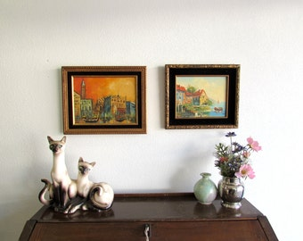Vintage 60's Paintings // A Pair // Made in Taiwan // Wall Art, Wall Decor, Wall Hangings, Framed Art, Framed Paintings