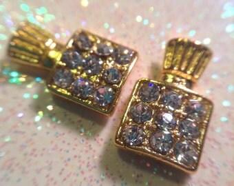 Set of 2 gold perfume bottle w/crystals nail charms - NAIL ART