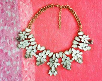Bib Necklace - Statement necklace - White necklace - party necklace - Jcrew Style necklace -  Fast Shipping