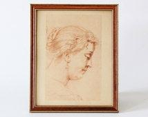 Vintage graphic art illustration woman portrait drawing framed print