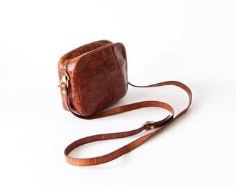 Vintage Patterson leather bag brown gold handbag croc design small bag
