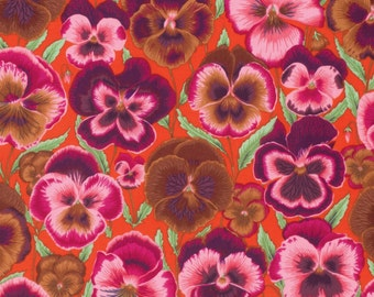 PANSIES ORANGE Fall 2015 Philip Jacobs for Kaffe Fassett Collective Sold in 1/2 yd increments