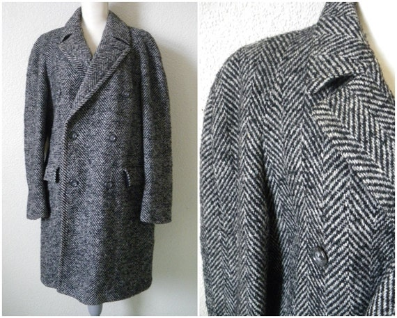 Mens Herringbone coat Wool jacket Double breasted overcoat