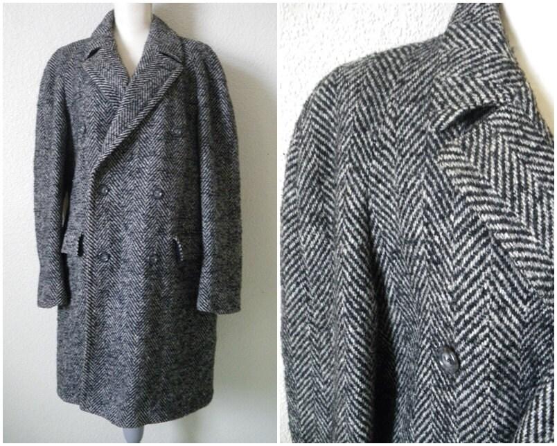 Mens Herringbone coat Wool jacket Double breasted overcoat